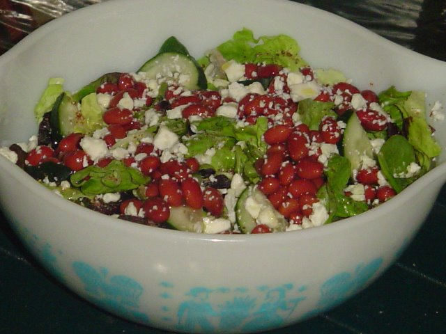 SALAD WITH BEANS CUCUMBERS FLAXSEED FETA CHEESE